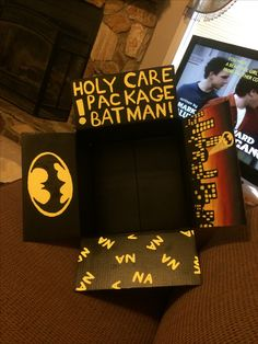 Batman care package for college son or boyfriend (: gifts an Missionary Care Packages, Missionary Gifts, Deployment Care Packages, Lds Missionaries, Boyfriend Anniversary Gifts, Diy Gifts For Boyfriend, Birthday Gifts For Boyfriend, Boyfriend Care Package, Care Box
