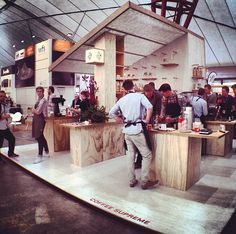 Coffee Supreme pop-up at Melbourne International Coffee Expo.  Excellent design for a coffee booth.