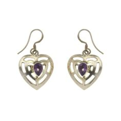 Fashionable silver jewelry with amethyst Handmade Heart Earrings From India 3:18 Cm: ShalinCraft: Amazon.de: Jewelry