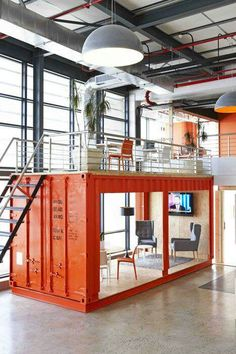 CONTAINER MEETING ROOM . INDUSTRIAL . CONCRETE . WAREHOUSE . STEEL . LARGE PENDANTS