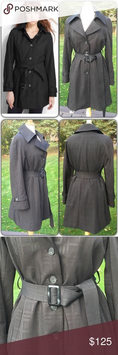 """🌸12/6 HP🌸Hilary Radley NY Belted Trench Coat Excellent condition with minimal to no signs of wear. Interior lining is completely detachable with buttons. Belted across waist. Medium to heavy weight. Body: 83% polyester, 17% cotton. Lining: 79% acrylic, 21% polyester. When flat and buttoned, armpit to armpit measures approx 19.5""""; top of shoulder to bottom is 37.5"""". Has pockets at both hips. Dry clean only. Model in first pic is for inspiration only, not exact coat. Hilary Radley Jackets…"""