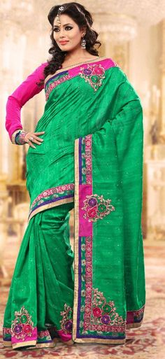 $61.04 Green Bhagalpuri Silk Embroidery Saree 24286