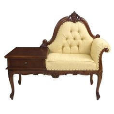 Victorian design telephone seat with moulded and shaped seat frame which is solid mahogany. Available as either a left hand or right hand version. The upholstered seat has a buttoned back rest. To the side is the telephone table top and useful single drawer which is opened by way of [...]