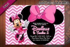 MINNIE MOUSE Invitation, Chevron Minnie Mouse Birthday (Choose 1 color)
