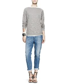 -4RN2 Brunello Cucinelli Flower-Embossed Pullover, Short-Sleeve Tee, Bias-Cut Jeans & Leather Cuff Bracelets