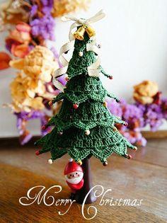 『White tree, Green tree&編み図☆』 – Gardening for beginners and gardening ideas tips kids Crochet Christmas Decorations, Felt Christmas Decorations, Crochet Decoration, Crochet Christmas Ornaments, Holiday Crochet, Christmas Knitting, Christmas Makes, Noel Christmas, Christmas Crafts