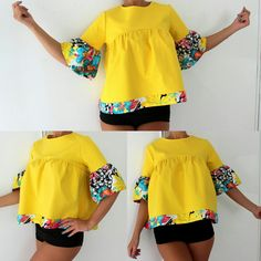 Amazing New Colorful ruffle cotton top! African Wear Dresses, African Fashion Ankara, Latest African Fashion Dresses, African Print Fashion, African Attire, African Blouses, African Tops, African Traditional Dresses, Stylish Tops