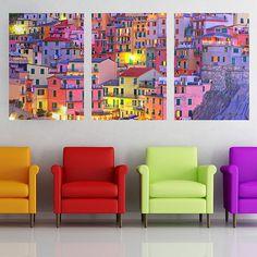 Colorful Town Panoramic Art
