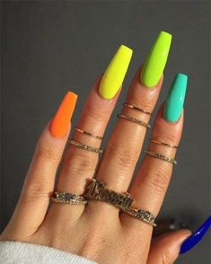 77 Bright Neon Nails to Try This Summer - Nails - Neon Acrylic Nails, Bright Summer Acrylic Nails, Neon Nails, Acrylic Nail Designs, Gradient Nails, Colorful Nails, Neon Orange Nails, Neon Nail Art, Ombre Nail
