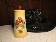 Vintage Austria Porcelain Hat Pin Holder Hand Painted Floral Cream Red Yellow Red by NewOxfordVintage on Etsy