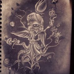 #i #drew #this #one #a #week #ago #also #i #think #i #might #get #this #tattooed #on #me #idk #though #owl #skull #octopus #shrooms #ragecomics #dude #bug #bic #blunted #tree #blackrose #cuthulu #inspired
