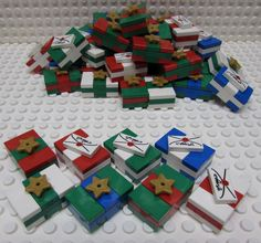Eight miniature Christmas packages made of Lego by TheMerryBeader on Etsy
