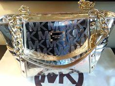 AUTHENTIC MICHAEL KORS PALE GOLD MK MIRROR METALLIC DELANCY MED BAG PURSE TOTE #MichaelKors #TotesShoulderBag