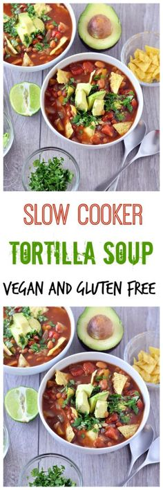 Calling all spicy food lovers! This Healthy Slow Cooker Tortilla Soup that is a super cinch to make in the slow cooker! Vegan and gluten free.