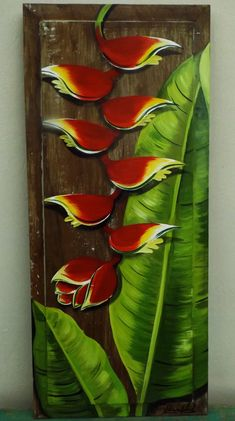Fabiana Kaled: Arte em Demolição Acrylic Painting Inspiration, Painting On Wood, Arte Pallet, Art Corner, Silk Art, Tropical Art, Abstract Portrait, Flower Art, Flower Mural