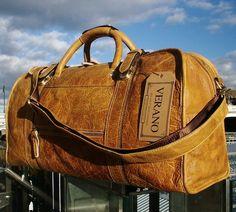 New Italian Leather Duffle Weekend Holdall Gym Flight Bag Mens Gift Brown Tan AG   eBay