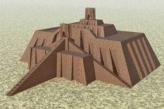 Reconstrucción informática del Zigurat de Ur (cerca de la actual Nasiriya, Iraq). S. XXI a.C. - Periodo sumerio