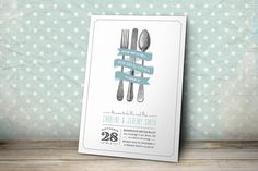 Printable Wedding Rehearsal Dinner Invitation - White Background with Custom Colors