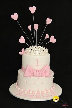 Princess first birthday cake by Sunny Girl Cakes Princess First Birthday, 1st Birthday Cakes, Girl Birthday, Birthday Ideas, Fondant Cakes, Cupcake Cakes, Bow Cakes, Gateau Baby Shower, Girl Cakes