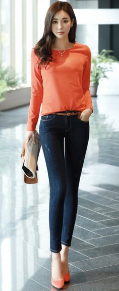 Korean Women`s Fashion Shopping Mall, Styleonme. Casual Fall Outfits, Cute Outfits, Professor Style, Fashion Pants, Fashion Outfits, Stylish Girl, Korean Fashion, Asian Girl, Skinny Jeans
