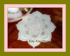 "Free standing ""Lace"" made inside your machine embroidery hoop. Sewing Machine Embroidery, Embroidery Applique, Coaster Design, Lace Making, Pin Cushions, Horns, Coasters, Crochet Earrings, Crafts"