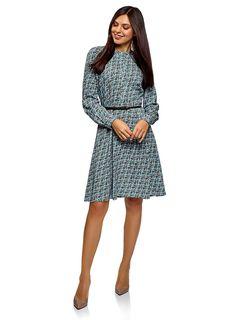 oodji Collection Women's Belted Viscose Dress Blue UK 12 / EU 42 / L Blue Dresses, Dresses For Work, Women's Dresses, Viscose Dress, Cute Woman, Belts For Women, Cold Shoulder Dress, High Neck Dress, Sweaters