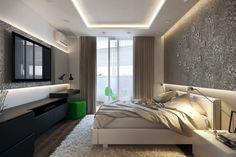 Темные шторы в спальне. Гипсокартонный потолок с подсветкой