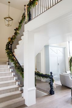 Our Home for Christmas – Ivory Lane House Staircase, Staircase Remodel, Stairs, Christmas Staircase Decor, Christmas Home, Christmas Decor, Holiday Decor, Blogger Home, Entryway Lighting