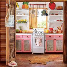 The Kitchen - Bohemian Jamaican Beach Cottage - Coastal Living