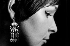 earring based on a historic prototype by the Skolt Sami people Real People, Reindeer, Woman, History, Sewing, Earrings, Clothing, Bags, Travel