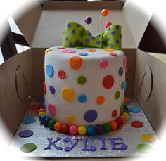 - 6 polka dot cake with fondant bow :)
