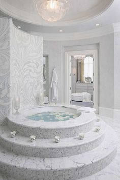 101 Decorating Secrets from Top Interior Designers white luxury bath. - 101 Decorating Secrets from Top Interior Designers white luxury bathroom Micoley's pi - Dream Bathrooms, Dream Rooms, Beautiful Bathrooms, Luxury Bathrooms, Small Bathrooms, Luxury Bathtub, Modern Bathrooms, Glamorous Bathroom, Marble Bathrooms