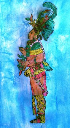 Mayan priest - ink and watercolor pencils Copyright: Morgana Bondig ~ poetofsheba.com