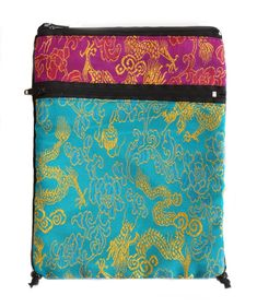 Turquoise and Purple Tarot or Passport Bag in Rayon Brocade with Zippers -- For more information, visit image link. (This is an affiliate link) #ShoulderBag