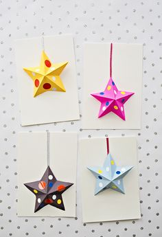DIY: origami paper stars cards