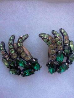 Schiaparelli Green Rhinestone Earrings circa 1950's