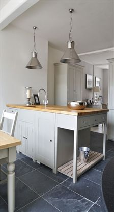 Suffolk kitchen with potboard and oak top - love the colour! Shaker Style Kitchens, Country Kitchens, Grey Kitchens, Kitchen Family Rooms, Kitchen Living, New Kitchen, Garage Studio, Kitchen Gallery, Country Interior