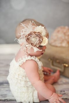 Such a cute little headband for a baby!!!       Baby Girl Headband  Baby Headband  Beige by LittlePearlBoutique, $27.00