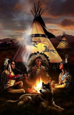Native Americans Indians At Night, Tipi Painting