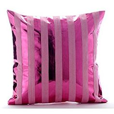 """Amazon.com: Hot Pink Pillow Covers, Metallic Stripes Sparkly Glitter Club & Lounge Theme Pillows Cover, 16""""x16"""" Throw Pillow Covers, Square Faux Leather Pillows Covers Couch, Modern Pillows Cover - Born 2 Party: Home & Kitchen"""