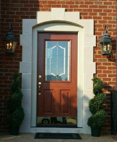Signet Fiberglass Front Entry Door With Florence Decorative Glass U0026 A  Cherry Grain Stained Toffee Exterior