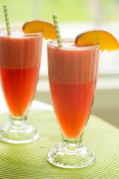 Watermelon-Peach Slushies   browneyedbaker.com #recipe #summer #drinks