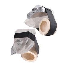 Rings by Marina Elenskaya. 2012. Raw crystal roxk, aluminium, wood, bicycle inner tube