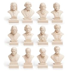 Composer statuettes - Mini busts of all your favorite composers of the past!  Bach, Beethoven, Brahms, Chopin, Liszt, Mendelssohn, Mozart, Schubert, Schumann, Tchaikovsky, Verdi and Wagner. | So cute!