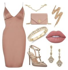 """""""River Island Blush Pink Plunge Mini Dress"""" by harrietsandy ❤ liked on Polyvore featuring River Island, Valentino, Sara Weinstock, Adriana Orsini, Blue Nile, Tory Burch, Urban Decay and Lime Crime"""