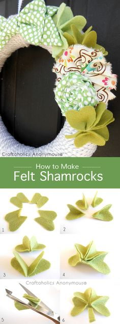St. Patrick's Day Shamrock wreath + How to make Felt Shamrocks