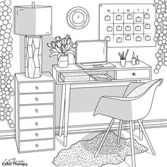 Detailed Coloring Pages, Cute Coloring Pages, Adult Coloring Pages, Coloring Books, Interior Architecture Drawing, Interior Design Sketches, Cute Pictures To Draw, House Colouring Pages, Coloring Pages Inspirational