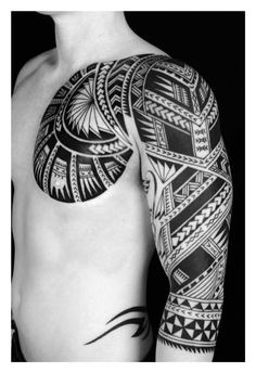 Polynesian Chest Plate + 3/4 Arm Sleeve Tattoo by Shane Gallagher