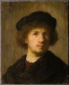 Rembrandt Harmenszoon van Rijn (Dutch [Dutch Golden Age, Baroque] Self-portrait with beret and gathered shirt, Oil on panel, x 12 cm. Rembrandt Self Portrait, Rembrandt Paintings, Rembrandt Art, Vermeer Paintings, List Of Paintings, Art Paintings, Johannes Vermeer, Baroque Art, Dutch Golden Age