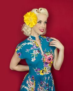 Trashy Diva Maria Dress | Vintage Inspired Dress | Turquoise Floral